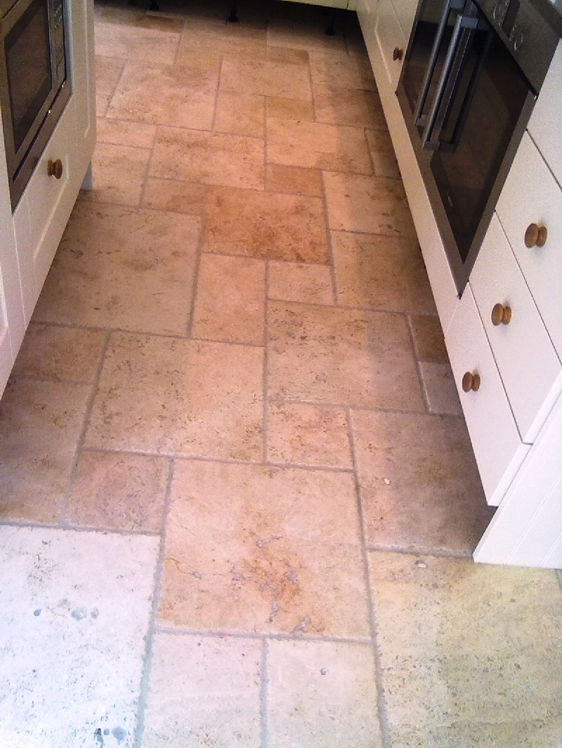 Stone cleaning and polishing tips for travertine floors the photographs above show travertine stone tiles on a kitchen floor before and after cleaning and sealing doublecrazyfo Gallery