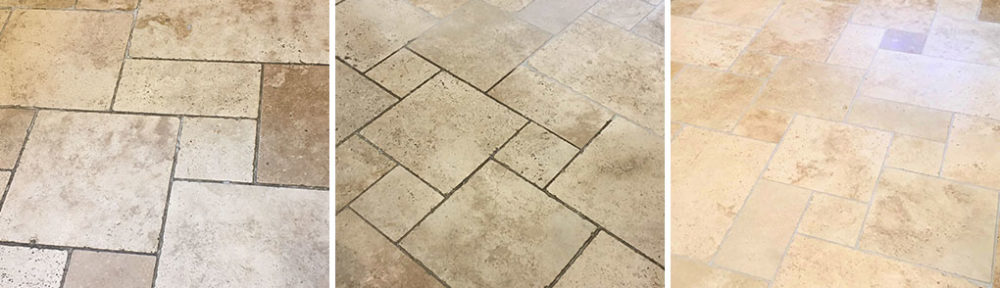 Travertine Tile Grout Before After Cleaning Sunbury-on-Thames